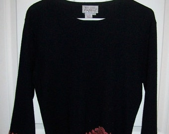 Vintage Ladies Black Sweater w/ Dark Pink Applique Roses by Adrianna Papell Large Only 5 USD