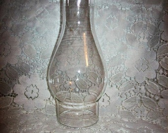"Vintage Clear Glass Chimney Replacement Globe 8 1/2"" Tall Only 6 USD"