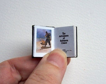Dolls' House Miniature Book - The Adventures of Robinson Crusoe (leather bound)