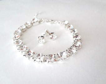 Crystal bracelet and earring SET, Brides jewelry set, Wedding jewelry set, Tennis bracelet ~ Stud earrings - Bridesmaids jewelry set ~ Gift