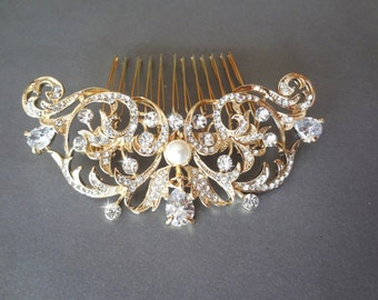 Brides gold hair comb ~ Teardrop rhinestone hair accessories ~ Crystal ~ Hair comb ~ Swarovski pearl ~ Hair Jewelry ~ Wedding accessories