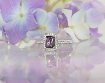 Spinel Ring, Spinel Silver Ring, Natural Spinel, Emerald Cut Ring, Gemstone Ring, Purple Gemstone Ring, Halo Ring, Micro Pave Ring,