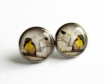 Yellow Bird Earrings, Bird Stud Earrings, Birthday Gift for Her, Gift for Nature Lover, Hypoallergenic Surgical Steel, 14mm