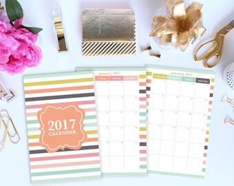 2017 Monthly Calendar Printable, Half Page Calendar, 2017 Desktop Calendar, 2017 Printable Calendar, Planner Inserts, Planner Page