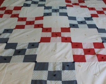 Handmade Irish chain quilt red white and blue nine patch