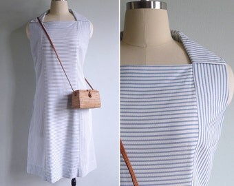 Vintage 70's Nautical Stripe Diamond Neck Collared Shift Dress L or XL