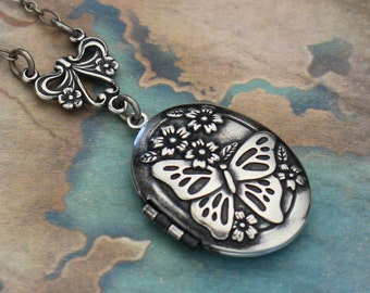 Silver Butterfly Locket Necklace, Silver Butterfly Pendant, Secret Garden Necklace, Antique Style, Gift, Wedding Necklace, Enchanted Garden