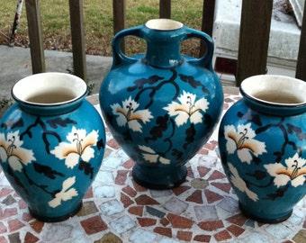 Vintage Victorian Vases, Beautiful Set of 3,Agean Blue