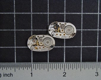 Vintage Watch Movements for Cufflinks or Earrings a Matched Set with Gears, for Jewelry Making, Mixed Media, Steampunk Art  Supplies 04300