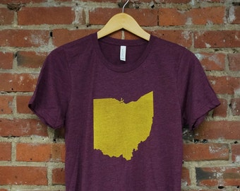 Unisex Maroon Tri-Blend Supersoft Tee with 'Ohio State' in Gold Ink