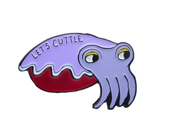 Soft Enamel Cuttlefish Pin - Purple Cuttle Fish Pin - Let's Cuttle PIn