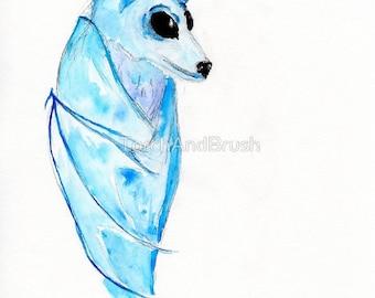 Dream Bat - OOAK Watercolor Spirit Animal