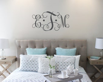 Vine Monogram Decal | King Size Bed Decal | Master Bedroom Wall Decal | Wedding Monogram | Wedding Gift