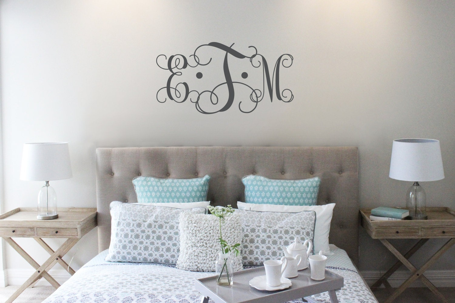 vine monogram decal king size bed decal master bedroom wall vine monogram decal king size bed decal master bedroom wall decal wedding monogram wedding gift