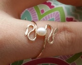 Pearl Snake Ring, Wire Wrapped Ring, 14K Gold Filled - Any Size - Made to Order