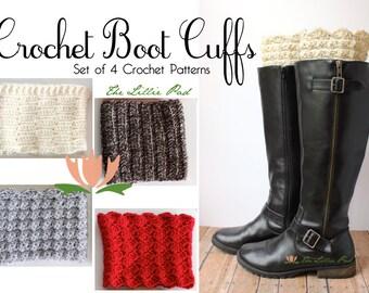 Crochet Boot Cuffs PATTERN - Set of 4 Crochet Patterns - Crochet Boot Cuff Topper Tutorial for Beginner and Intermediate