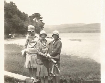 "Vintage Snapshot ""Lakeside"" Flappers Cloche Hat Marsh Swamp Found Vernacular Photograph"