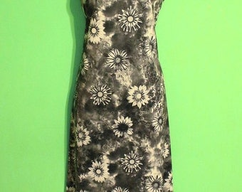 Vintage 90s Womens Black White Floral Daisy Grunge Maxi Dress Club Kid Gothic Small Medium
