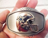 Dallas Cowboys Helmet belt buckle vintage 1978 large texas football silver and blue star
