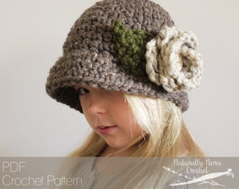 Crochet Pattern: The Flora Cloché -Toddler, Child, & Adult Sizes- Hat, Flower, Button, Chunky