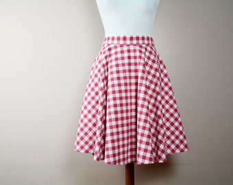 Red gingham skirt, half circle skirt, midi skirt, cotton skirt, 50s skirt, maxi skirt, full skirt, Tea length skirt, red skirt