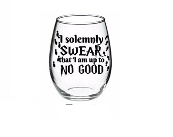 Harry Potter - Harry Potter Wine Glass - Harry Potter Wine - I solemnly swear that I am up to no good 21 oz wine glass LOTS OF COLORS