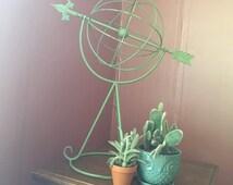SALE- Unique- Vintage Decorative Green Armillary Sphere- Iron Globe- Iron Sphere- Yard Art