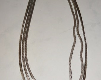 Vintage Silver Toned Necklace Multi Strand Chain Choker Necklace