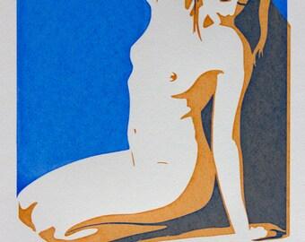 Kneeling Female Nude Screenprint