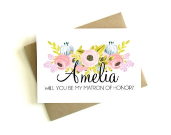 Personalized Matron of Honor Card 'Will You Be My Matron of Honor' - Greeting Card, Matron of Honor, Wedding Card, Floral Card, Bridal Party
