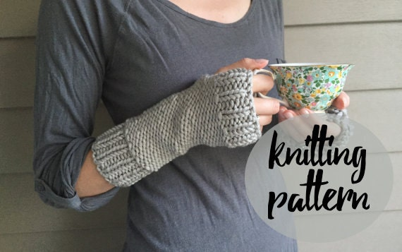 Fingerless Gloves Knitting Pattern Beginner : Knitting Pattern for Fingerless Gloves Mittens / Easy Beginner