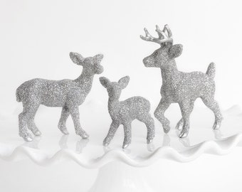 Winter Deer Family Metallic Silver Glitter Wedding Cake Topper, Woodland Table Centerpiece. Entertaining Birthday Party Settings Decoration