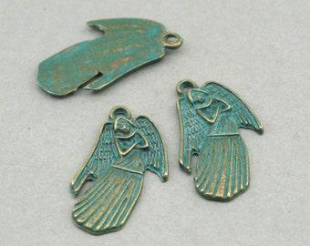 Angel Charms Green Patina Fairy 6pcs zinc alloy pendant beads 16X28mm CM0888BR
