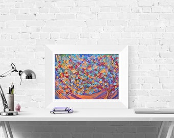 Purple Tree Print - Abstract Purple Wall Art Print - Decorative Abstract Tree Print of Original Fine Art Tree Painting by Louise Mead