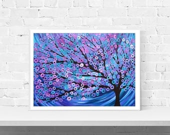 Giclee Art Print - Purple, Blue, & Pink Art Print - Giclee Print by Louise Mead