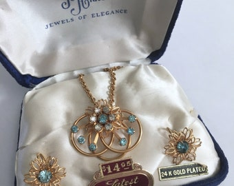 Vintage 1950s 24 K GOLD Plated Jo Anne Jewels of Elegance Jewelry Set with Box Chain, Pendant, Brooch Pin, Screw back Earrings