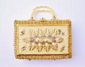 Large Vintage Retro 1960s Mid Century Seashell Conch Shell Wicker Weave Lucite Handles Purse Handbag Mermaid