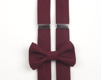 Burgundy bow tie & suspenders, men's bow tie, boys bow tie, mens suspenders, boys suspenders, child bow tie, child suspenders, adult bow tie
