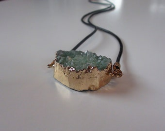 Elegant Sea Green Necklace, Drusy Druzy Quartz Necklace, Bridesmaids Gift, wedding gift, Christmas gift