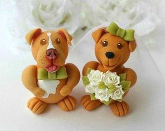 Wedding dog cake topper, custom cake topper, bride and groom cake topper, animal cake topper, pit bull cake topper, personalized