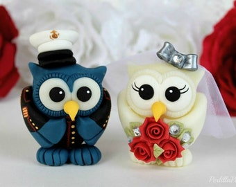 Military wedding cake topper, owl love birds with hand painted uniform, US Marine Dress blues
