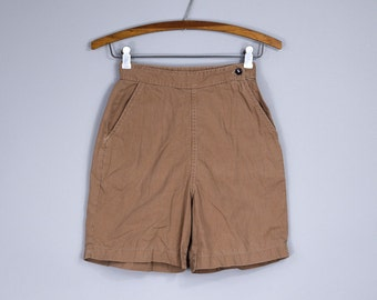 1930s Crew Shorts Cinch Back Camel Brown High Waisted Cotton Shorts