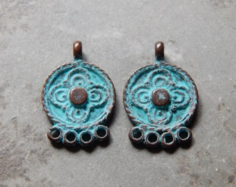 23X15mm 4 Ring Earring Connectors - Green Patina Verdigris Greek Mykonos Castings, 2 PC (ING0M80)