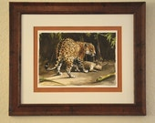 Jaguar and a Capybara, Fine Art Original Watercolor Painting by Casey Perez, Animal Art with Matte and Frame