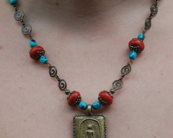 Ethnic Design with Antique Bronze Buddha Pendant, Coral and Turquoise Necklace - Unusual Chain