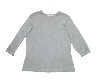 Silver Glitter Fitted Vintage Jumper - Long sleeve top - metallic - Lurex Sweater - Retro large slouchy XL- Metallic Sparkle Thread - baggy