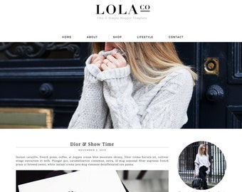 Blogger Template Blogspot Template Lola Co - Instant Digital Download, Stylish, Clean, Black and White