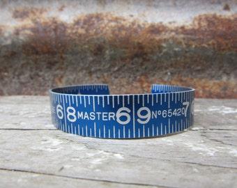 Vintage  Metal Folding Ruler Bracelet Blue Aluminum Metal Bangle Oversized Cuff Upcycled Jewelry Industrial Bracelet Steampunk Vintage