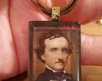 "Edgar Allan Poe Copper Stamp Vintage Look  Neckace 18"" -20"" ribbon cabochon"