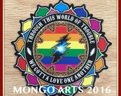 4x4 inch-Stickers-Cryptical Love Bolt- die cut High quality matte Vinyl -Mongo Arts GD inspired weatherproof + equality rainbow LE stickers